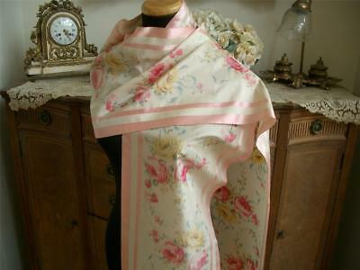 "*SUPERB LONG FRINGED 112"" Antique VTG WATERED SILKY ROSES SHAWL SCARF WRAP PANEL"