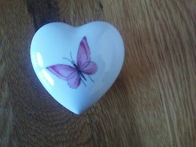 Vintage Chamart-  Limoges France Porcelain butterfly Heart Trinket Jewelry Box