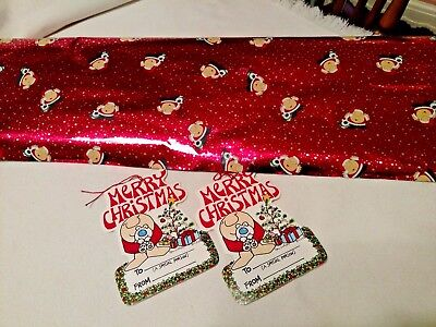 ZIGGY SANTA Christmas Gift Wrap Paper Roll Vintage Red & Silver FOIL & 2 Tags