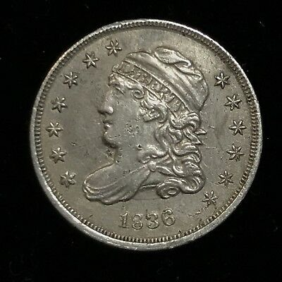 1836 Capped Bust Half Dime, Scarce Choice AU Collectible Silver Type