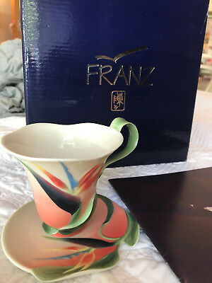 Franz Porcelain Summer bird of paradise cup and saucer original box NEVER USED