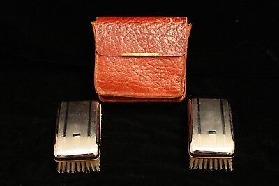 Vintage Pair of Clothes Brushes in Genuine Hide Carry Bag - 1960s - GVC