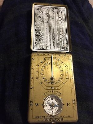 Vintage Sunwatch Pocket Compass & Sundial by Ansonia 1922 Original Instructions