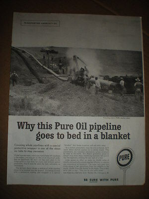1959 Oil pipe being built vtg photo Pure Oil Ad