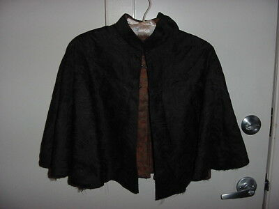Antique Victorian Ladies Black Mourning Cape...Silk with Back Neck Ribbon