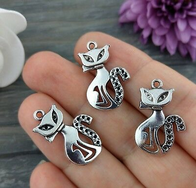 Cat Charm 1/5/10/20pcs - Kitty Pendants - Antique Silver Bulk Craft Charms CH455