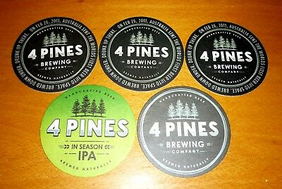 Collectable beer coasters -  Set of 5 assorted 4 Pines Brewing beer coasters