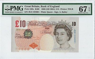 Great Britain, 2000 (ND 2004) 10 Pounds P389c PMG 67 EPQ