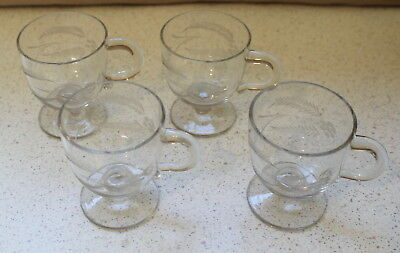 Very Fine Glass Etched, Set 4 Glasses With Handles