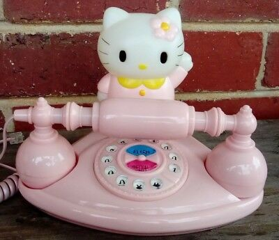 HELLO KITTY Vintage Style Telephone, Dial, PINK, Old Style, Home WORKING, light