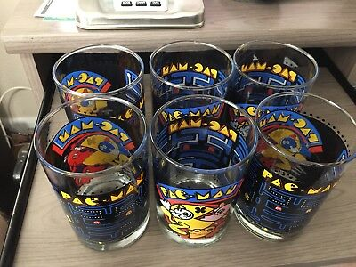 Lot of 6 PAC-MAN glasses. 1980 BALLY MIDWAY (ARBY's)- Vintage