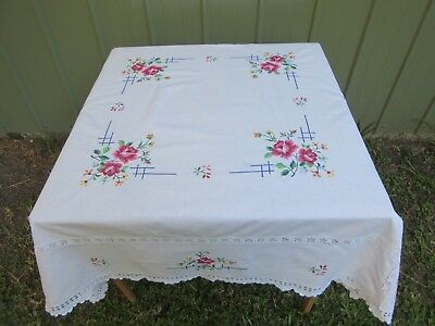 Vintage Hand Embroidered Cross Stitch Square Cotton Tablecloth 125 cm x 125 cm