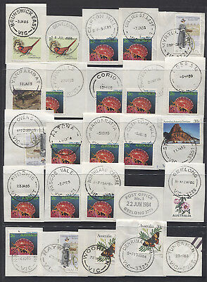 VICTORIA  1980s: selection of 25 different cds postmarks - ex John Webster