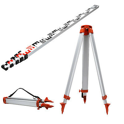 Aluminum 1.65m Tripod and 5m Laser Level Staff Kit for Rotary Laser Level