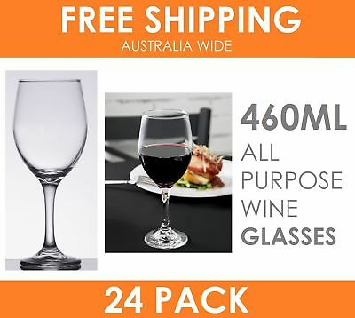 24 x EUROPEAN STEMWARE All Purpose Red White Wine Glasses 460ml in RETAIL BOX