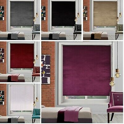 CRUSHED VELVET ROLLER BLINDS - EASY FIT TRIMMABLE - MADE TO MEASURE UP TO 240cm
