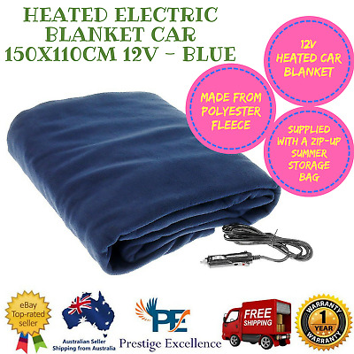 New Heated Electric Blanket Car 150X110CM 12V Polyester Fleece for Travel - Blue
