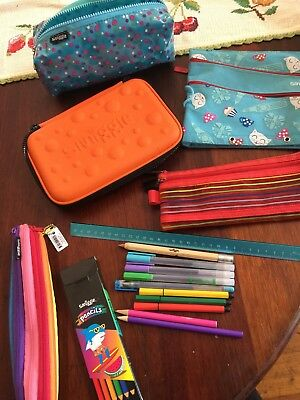 Smiggle Items Great Condition 5 Pencil Cases, Ruler, Pencils And Pens