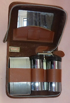 Vintage Gillette Safety Razor in Two-Tix Leather Travel Grooming Kit Wash Case