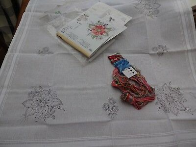 Rico cotton table cloth preprinted embroidery kit 31 inch sq anchor threads