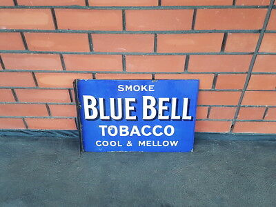 Early Vintage Original Blue Bell Tobacco Double Sided Enamel Sign (Flanged End)