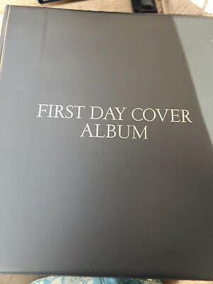 Black Wh Smith 4 Ring First Day Cover Stamp Album With 12 Pages