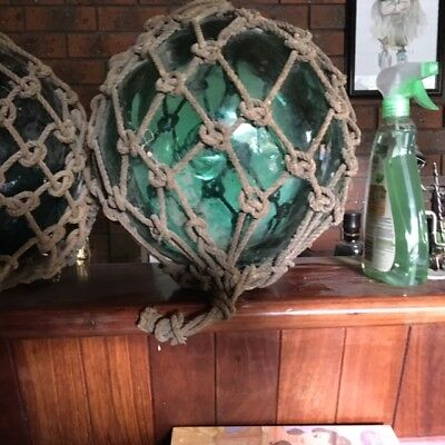 3 x Vintage Fishing Floats Green  12 -13 inches from the 1950's