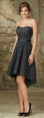 9b6928c6e703 NWT Charcoal all lace strapless High Low, Mori Lee 31063 Size 8 cocktail  dress