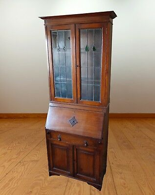 Vintage Solid Wooden Hand-Crafted Glass-Fronted Tall Dresser.