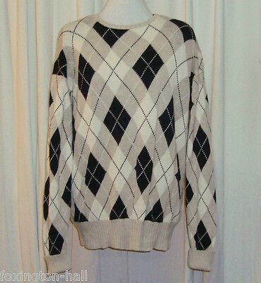 BEAUTIFUL POLO by RALPH LAUREN ARGYLE KNITTED JUMPER size L