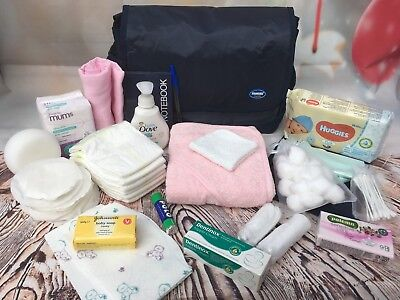 Large Pre Packaged Labour/hospital Bag,baby Shower, Pink  21 Items - Free Post