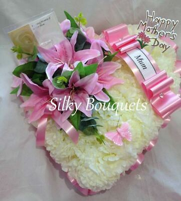 Heart Funeral Flower Artificial Silk Lily Memorial Tribute Mum Nan Pink Lily