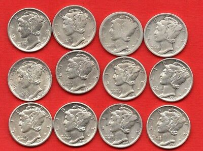 12 x USA MERCURY DIME SILVER COINS 1917 - 1943 UNITED STATES OF AMERICA 10 CENTS