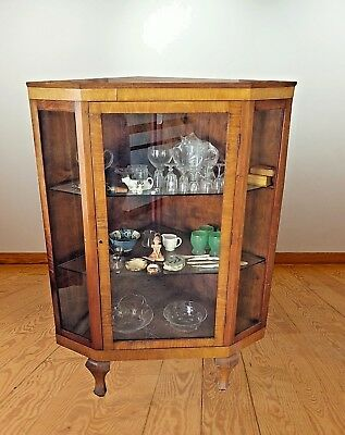 Wooden Hand-Crafted Display Cabinet With Glazed Doors And Front Panels.