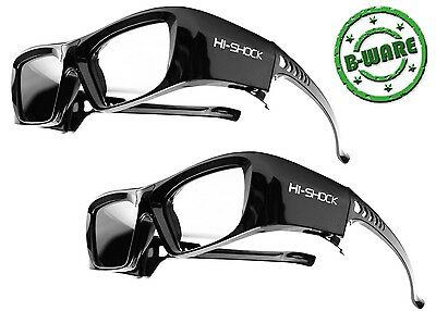 2x Hi-SHOCK® 3D Brille Black Diamond für RF Beamer Epson EH-TW 9300 9200 6700