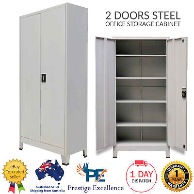 2 Door Steel Metal Storage Cabinet Home Office Locker Filing Cupboard Stationery