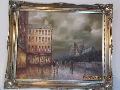 I. Costello Framed and signed Impressionistic Parisian Street Scene Oil Painting