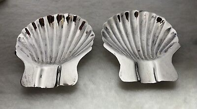 Antique Mexican Sterling Silver Shell Ashtray Pair