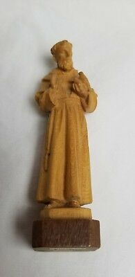 ANRI Carved Wood Figure St. Francis of Assisi Monk Holding Doves Rosary