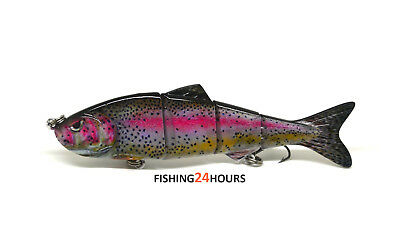"4"" Multi Jointed Bass Pike Fishing Lure Bait Crank Swimbait Life-like Rainbow"
