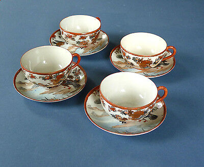 Set of 4 antique Japanese Tea Cups & Saucers. Hand painted. Birds. 1920s