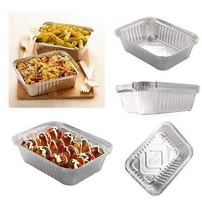 500X Aluminium Foil No2a Food Containers With Lids Best For Home And Takeaway UK