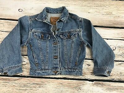 Vintage Levis White Tag Youth Small Classic Denim Jacket Made In USA 100% Cotton