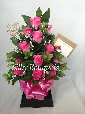 Artificial Silk Flowers Box Bouquet Pink Rose Delivered Faux False Gift