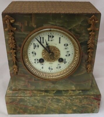 Vintage Green Marble French Gold Gilded Mantle Clock - 213