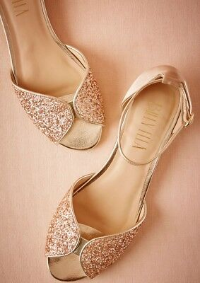 Bhldn Billy Ella Jeni Flat Size 6 Champagne New In Box