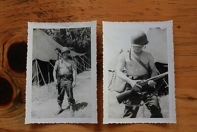 WWII Original Photo Young Soldier Shirtless Gun 1944 Lot of 2 WW2 Candid