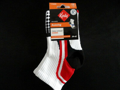 Paire de chaussettes running KINDY Blanc/Rouge Taille 39/42