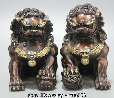 China Royal Old Bronze Copper Fengshui Fu Foo Dog Lion Guardian Door Statue Pair
