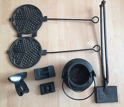 Mixed Lot Cast Iron Vintage Rustic Kitchen Waffle Irons Weights Antique Iron